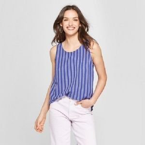 Women's Striped Woven Tank Top Blue Stripe - Small